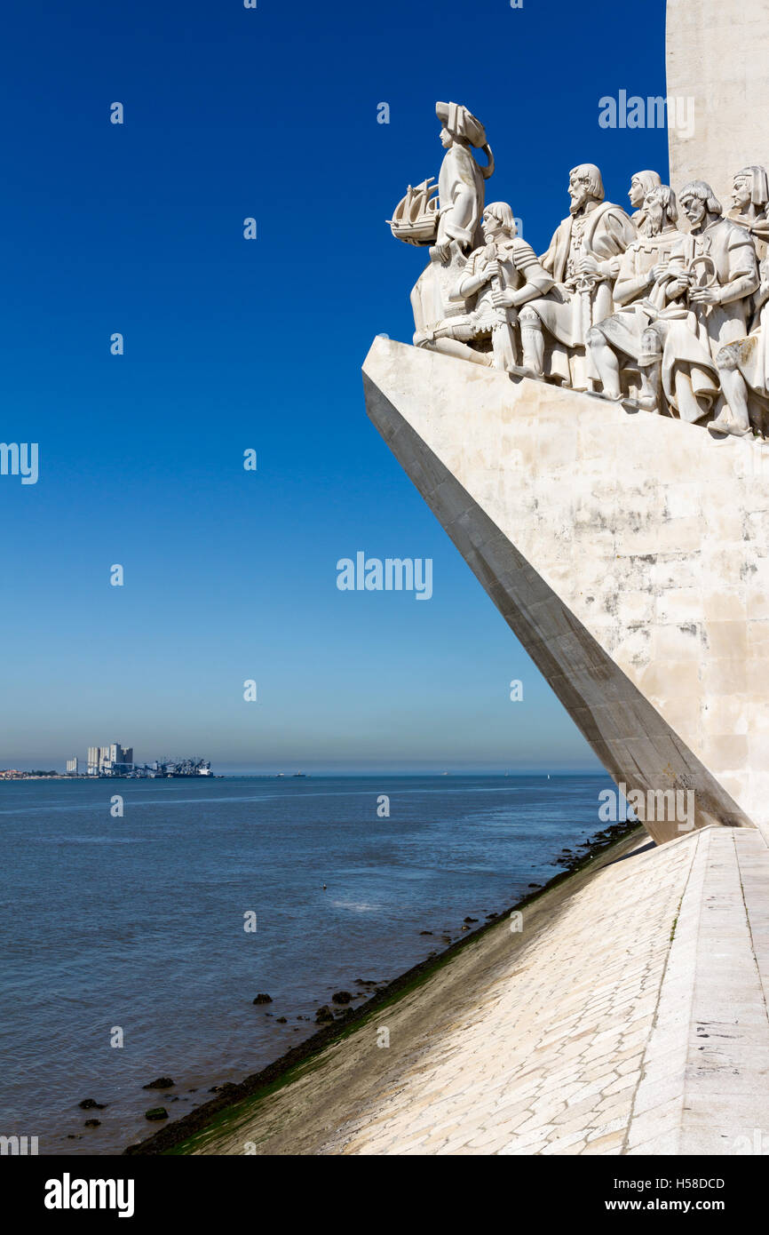 Monument to the Discoveries is a monument on the Tagus River estuary in Lisbon Stock Photo