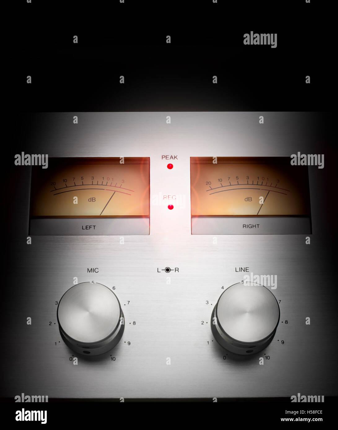 Retro hifi tape deck.Saturated audio signal concept. Audio peak - Stock Image