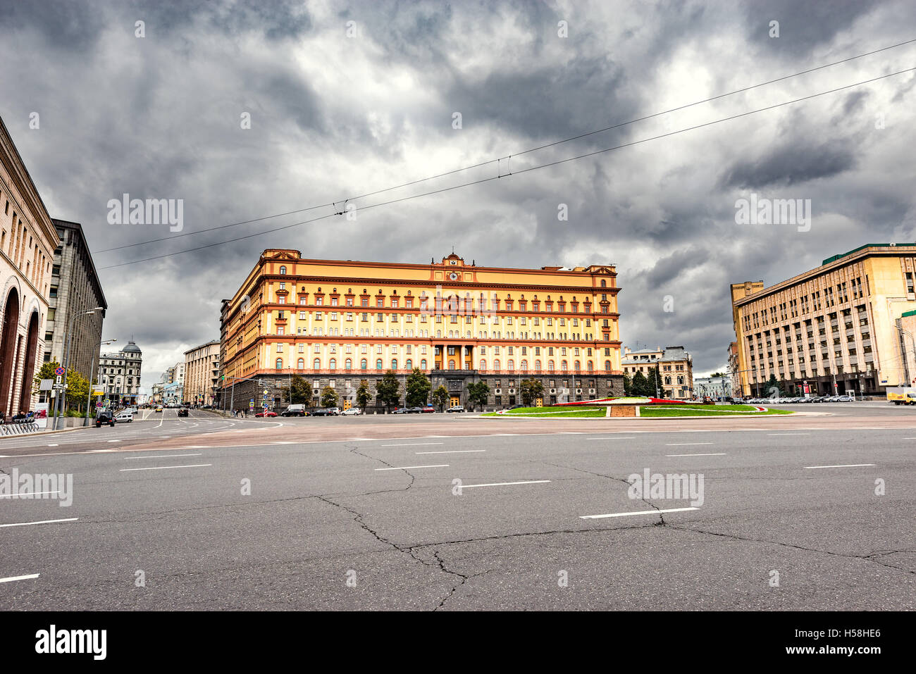 Lubyanka square by FSB and KGB headquarters in the historical center of Moscow, Russia - Stock Image