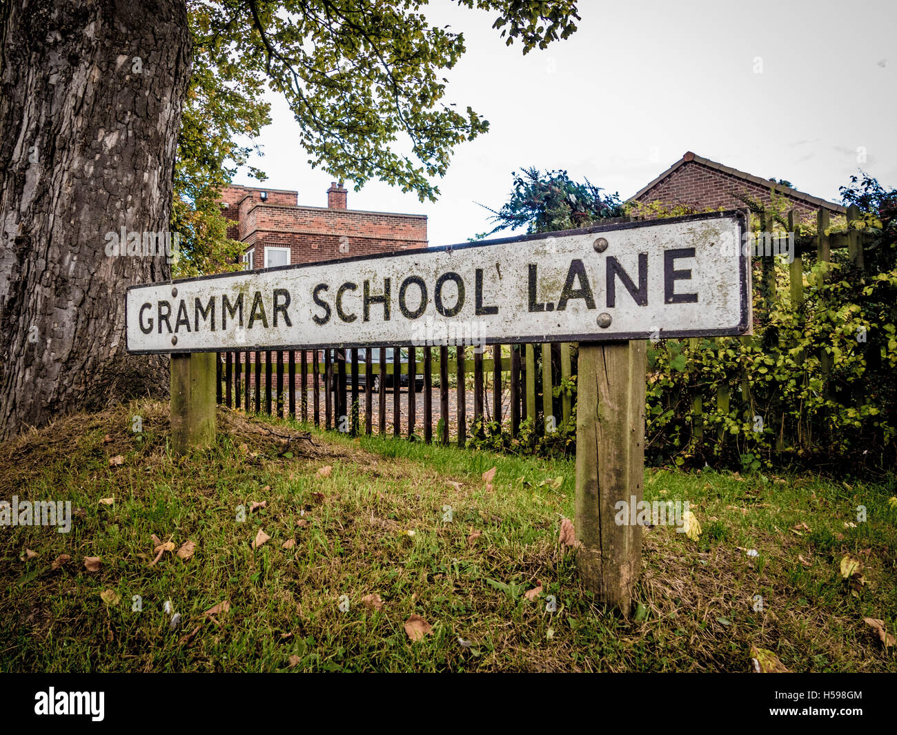 Grammar School Lane sign - Stock Image