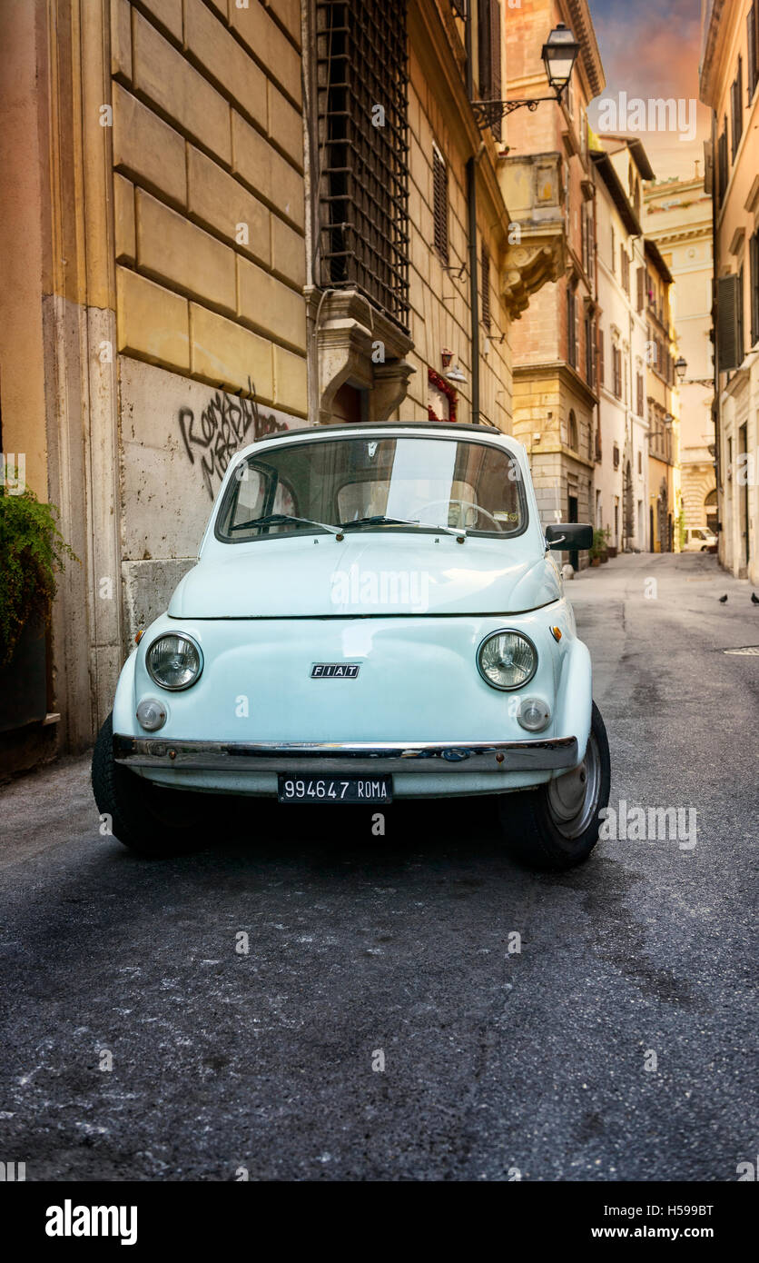 ROME - MAY 27: Fiat 500 parked on May 27, 2016 in Rome. Fiat 500 was one of the most produced European cars ever - Stock Image