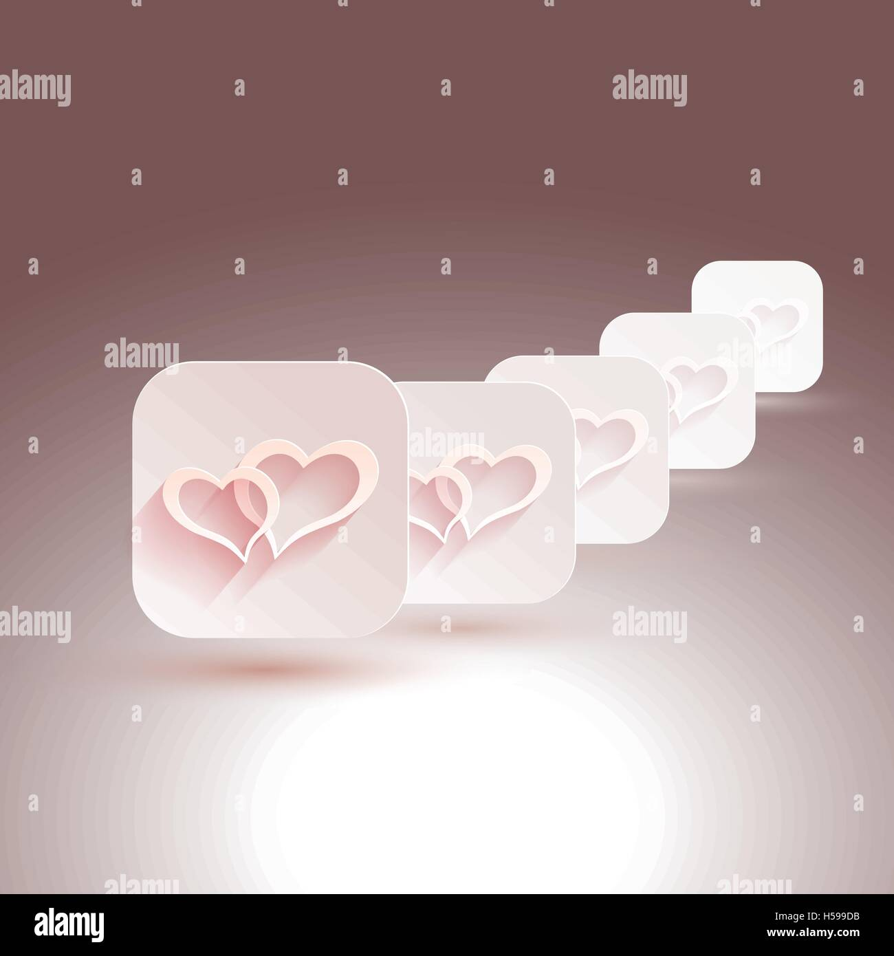 Vector stylish design hearts with shadows for designs of wedding
