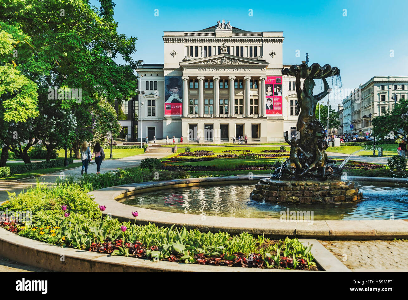 The Latvian National Opera was built in the style of Neoclassicism from 1860 to 1863, Riga, Latvia, Baltic States, - Stock Image