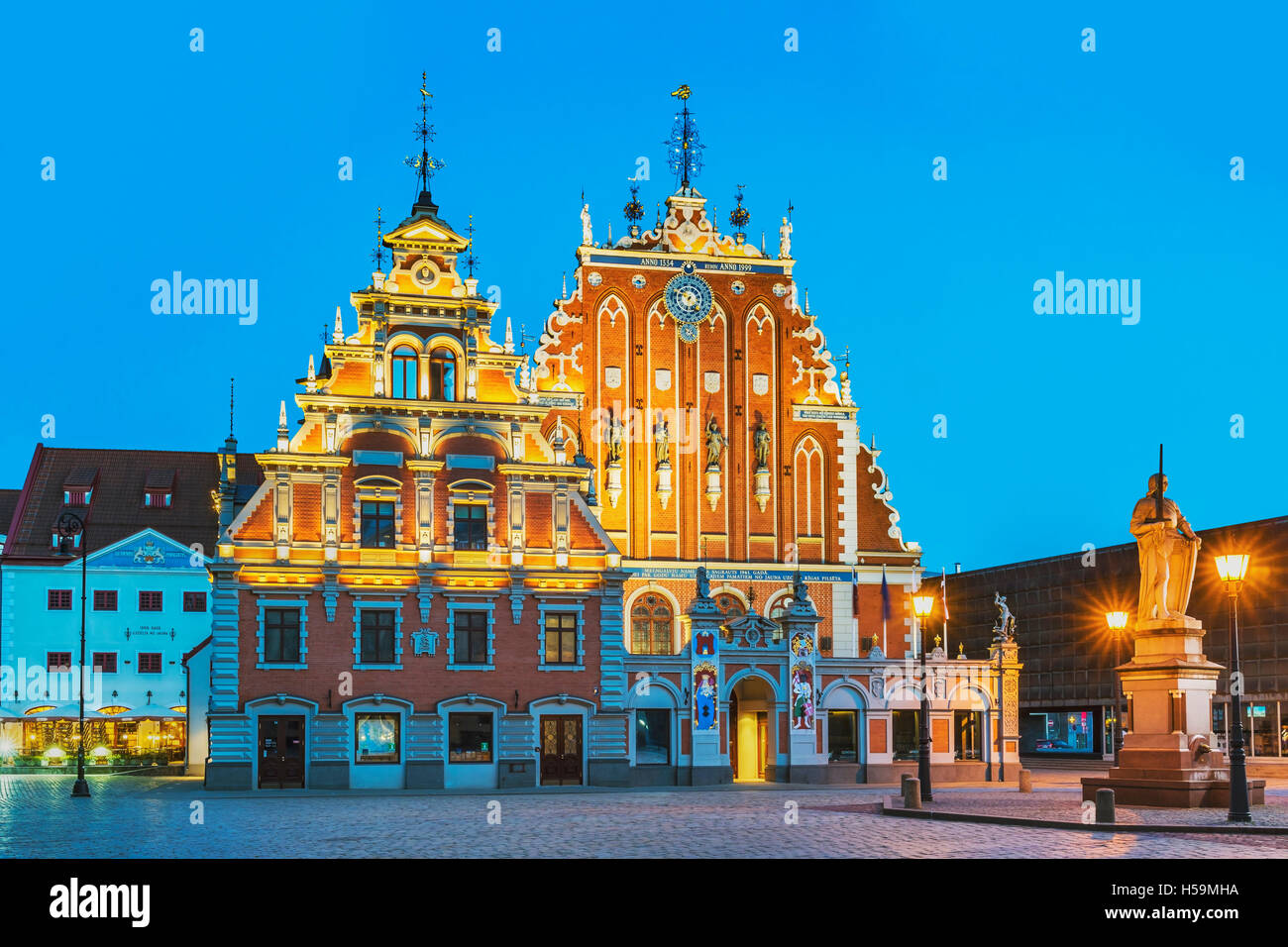 The House of the Blackheads on the Town Hall square was first mentioned in 1334, Riga, Latvia, Baltic States, Europe - Stock Image