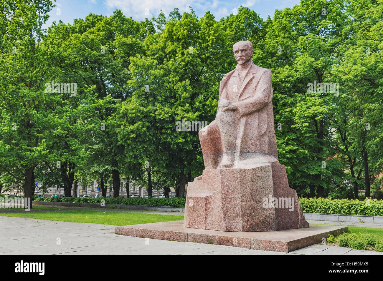 The monument of Janis Rainis (1865-1929) is located in the Vermanes Garden in Riga, Latvia, Baltic States, Europe Stock Photo