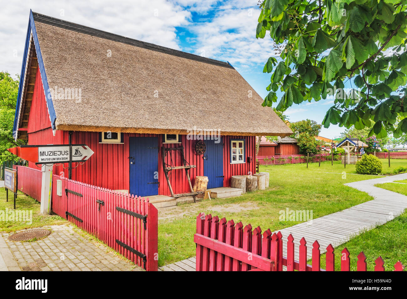 The Ethnographic fishing homestead is a museum in Nidden, Nida, Neringa, Curonian spit, Lithuania, Baltic States, - Stock Image