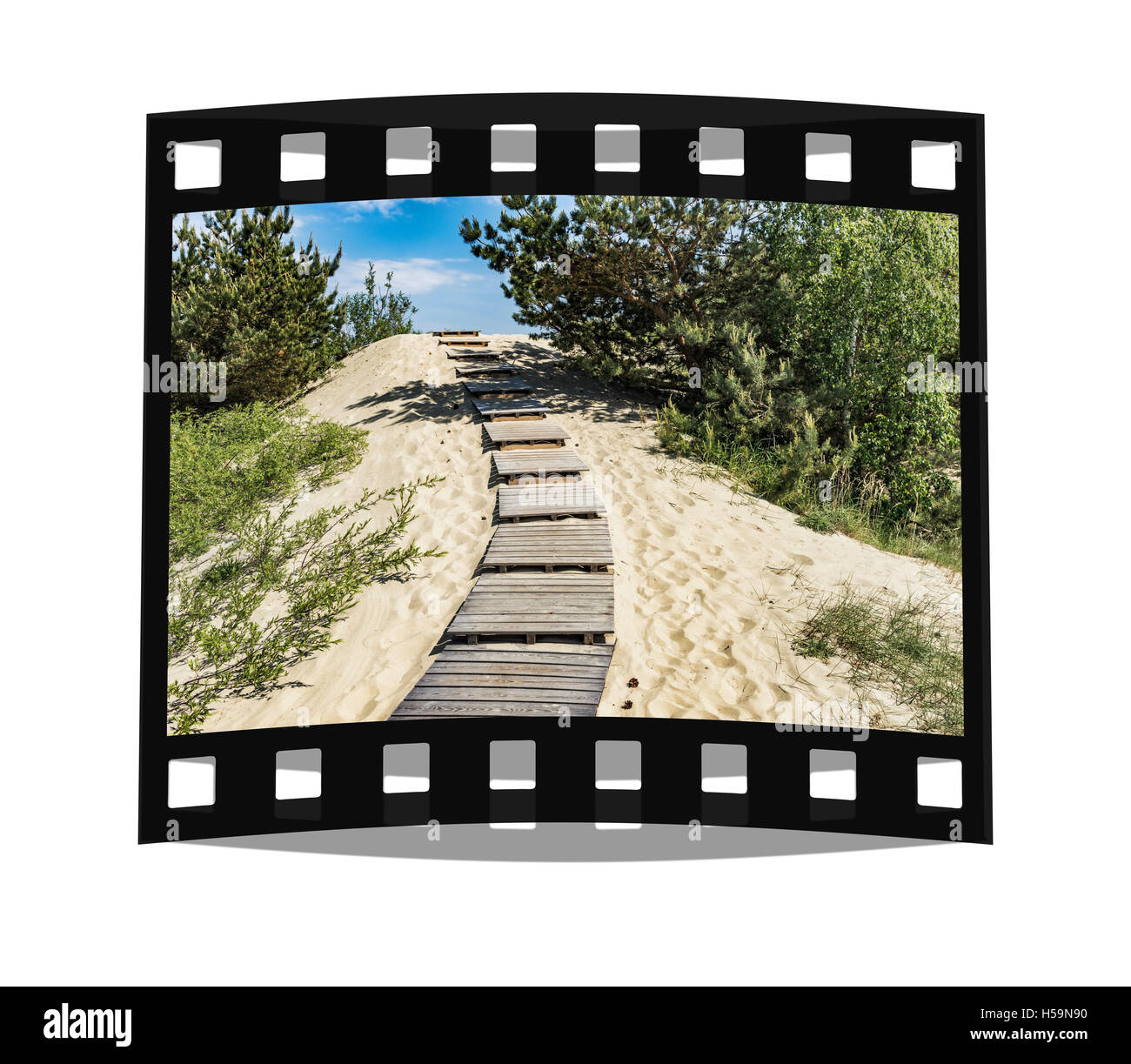 Steps to the up to 60 meter high dune in Nidden, Nida, Neringa, Curonian spit, Lithuania, Baltic States, Europe - Stock Image