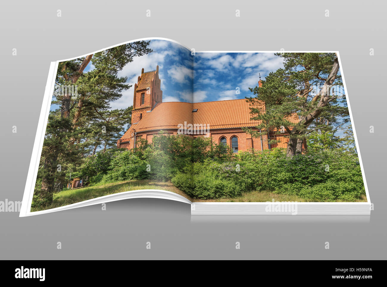 The Evangelical Church was built in Gothic style in 1888, Nidden, Nida, Neringa, Curonian spit, Lithuania, Baltic - Stock Image