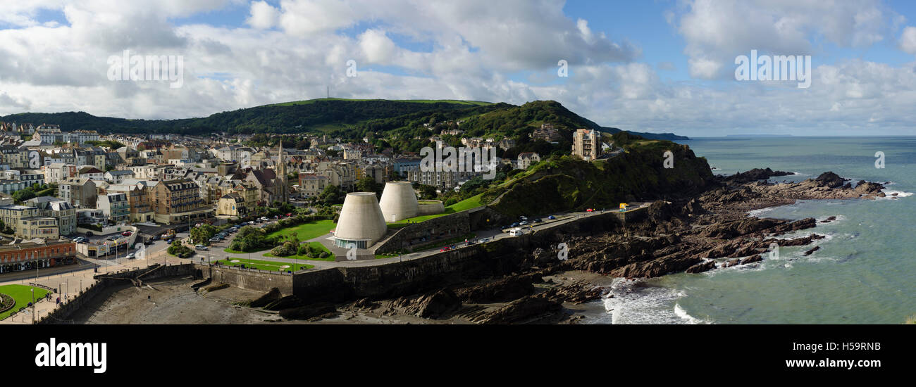 Ilfracombe and the Landmark Theatre from Capstone Hill - Stock Image