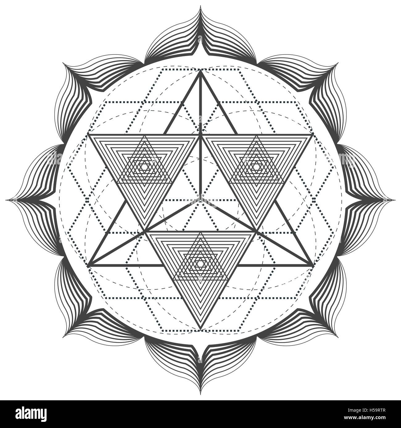 vector contour monochrome design mandala sacred geometry illustration merkaba triangles lotus isolated white background - Stock Image