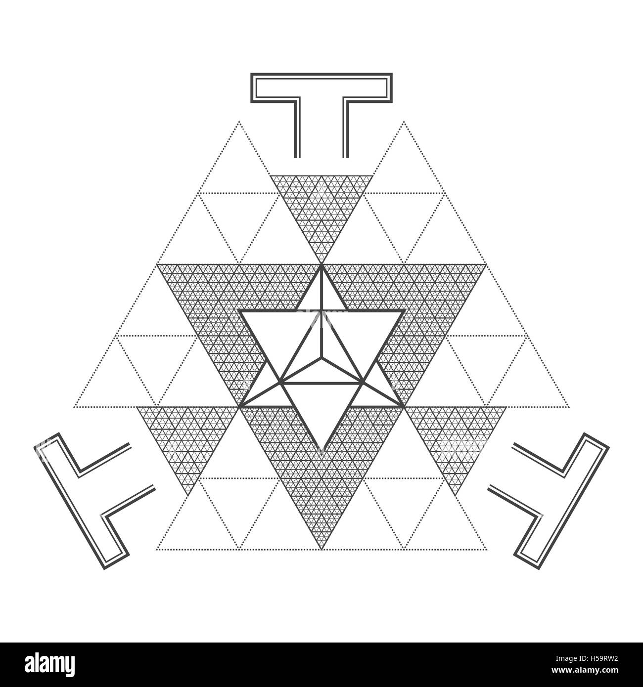 vector contour monochrome design mandala sacred geometry illustration merkaba triangle bhupura dot art isolated - Stock Image