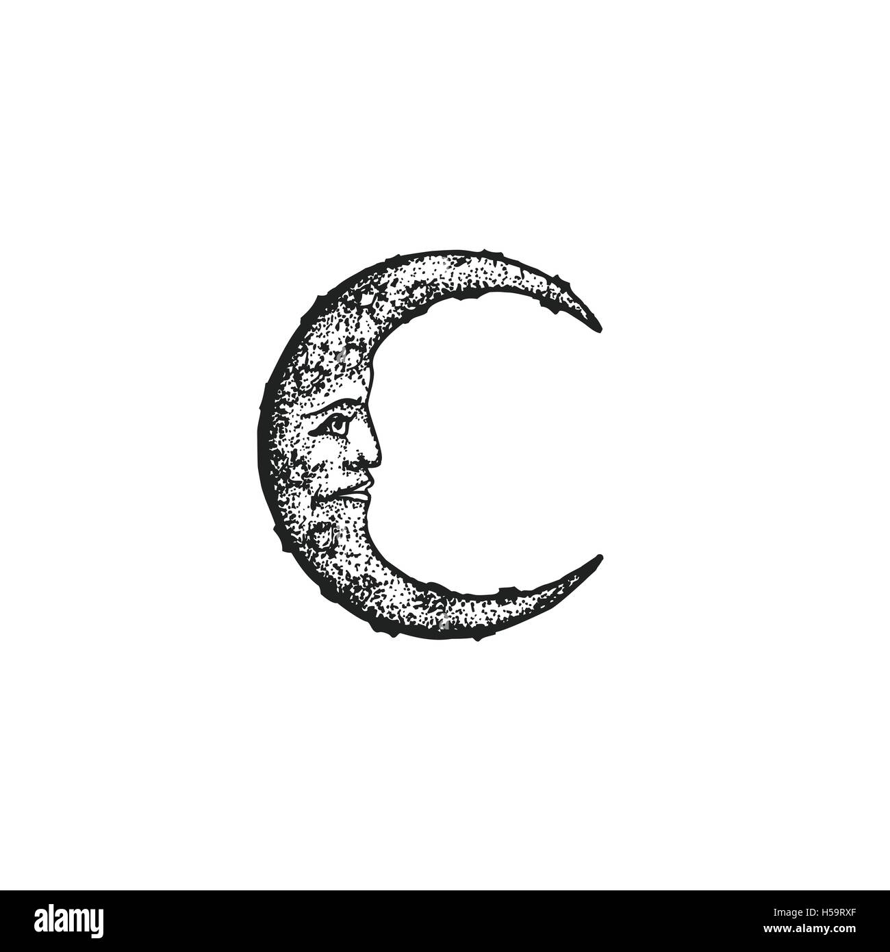 Vector Black Work Tattoo Dot Art Hand Drawn Engraving Style Vintage Moon Face Illustration Isolated White Background