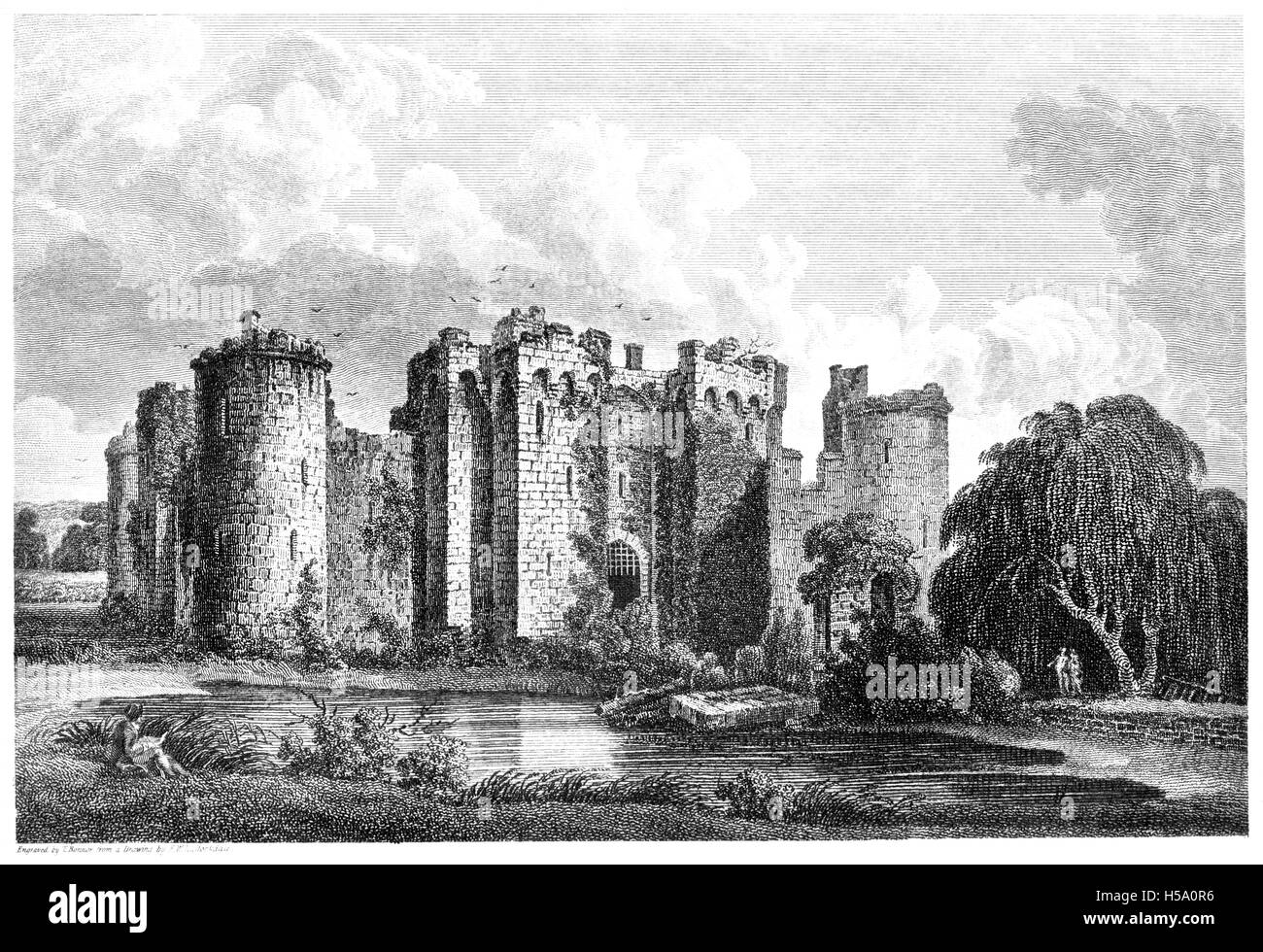 An engraving of Bodiham (Bodiam) Castle, Sussex scanned at high resolution from a book printed in 1812. Believed - Stock Image