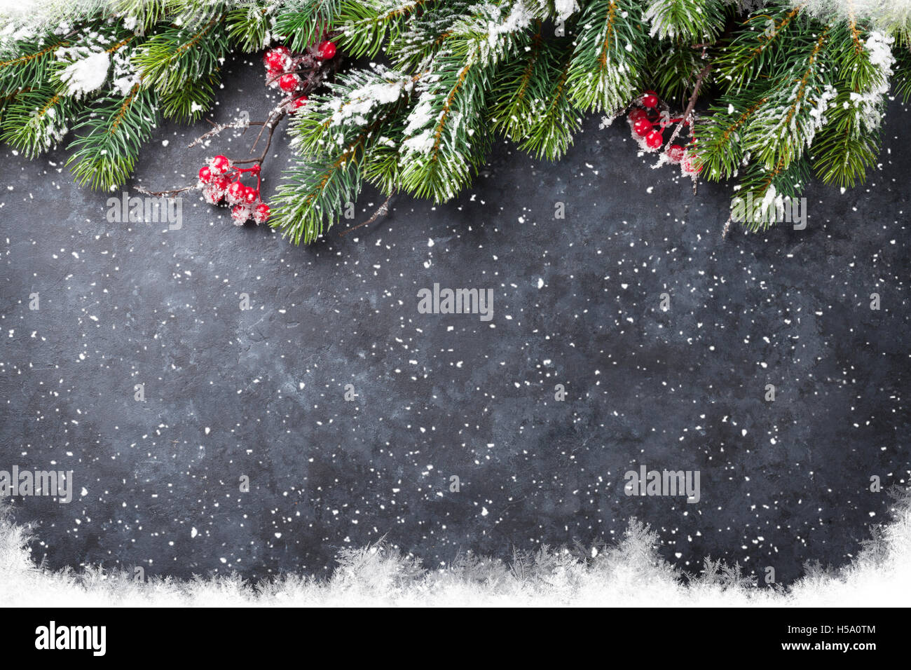 Christmas Tree Top View.Christmas Stone Background With Snow Fir Tree Top View With