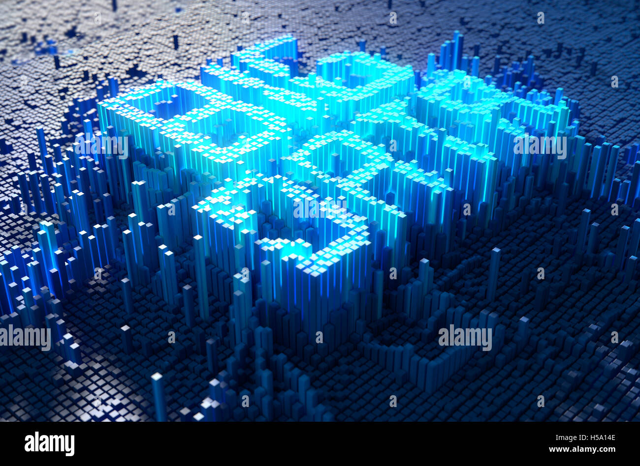 A 3D render of a microscopic closeup concept of small cubes in a random layout - Stock Image