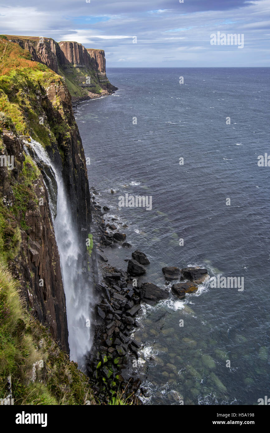 Mealt Waterfall At Kilt Rock A 200 Foot High Sea Cliff Of Dolerite On The