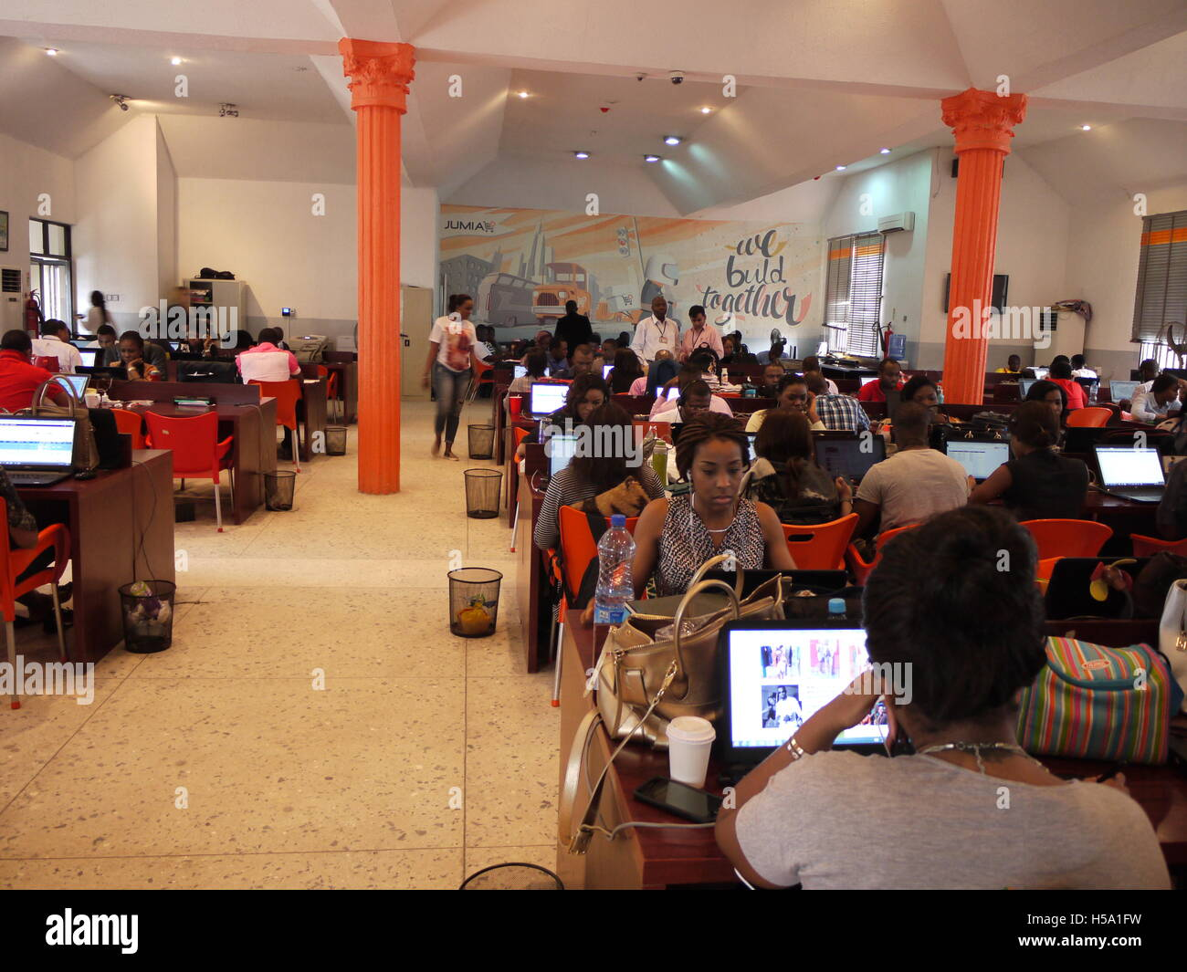 Marketing department of online shopping site Jumia in Lagos, a nigerian e-commerce startup successfull in Africa - Stock Image