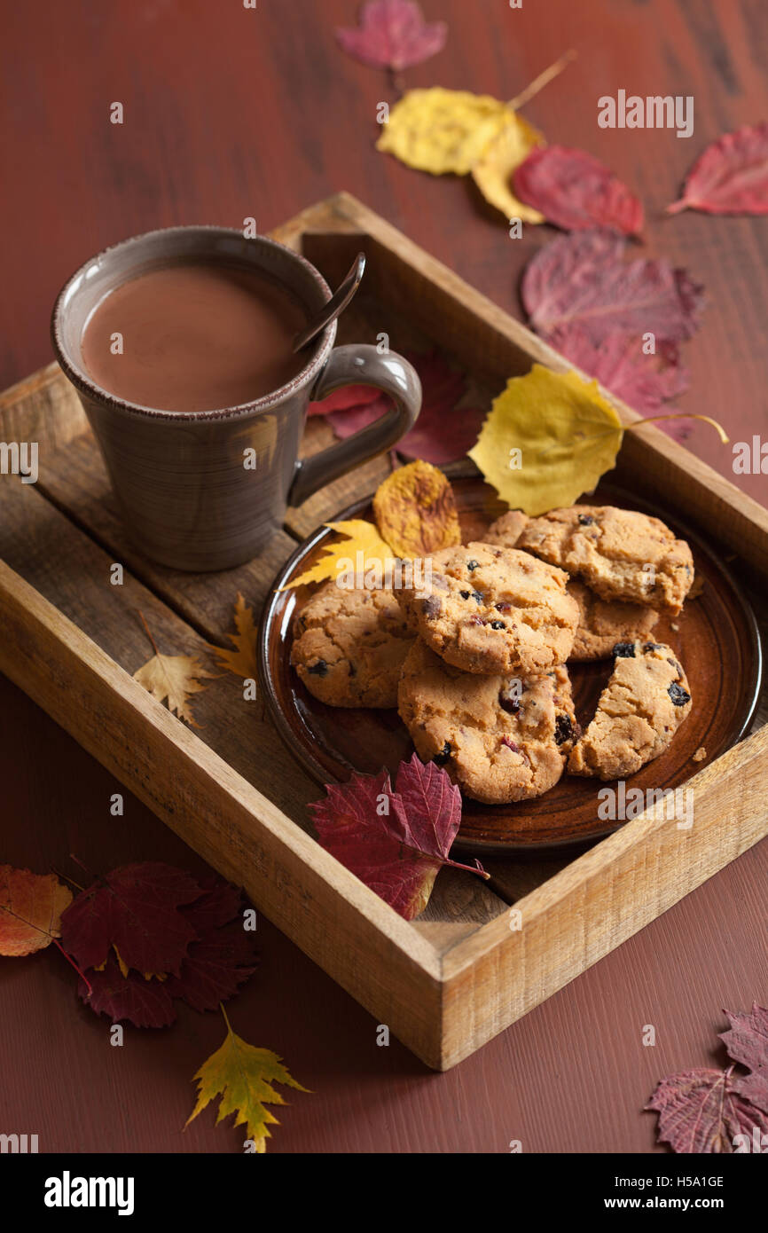 hot chocolate warming drink cozy autumn leaves cookies - Stock Image