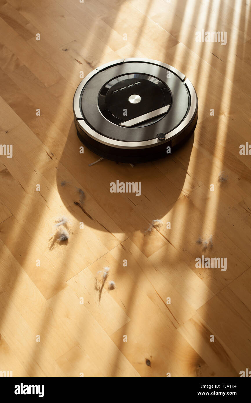 robotic vacuum cleaner on laminate wood floor smart cleaning technology dust - Stock Image