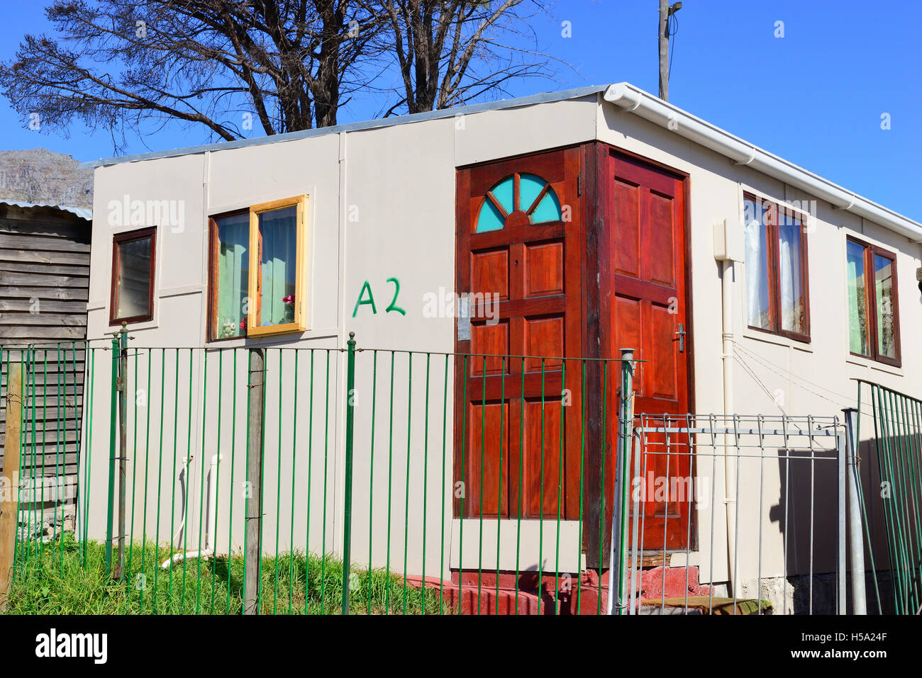 Typical make shift shack in the  town ship housing in Imizamo Yethu,commonly known as Mandela Park, Cape Town, South Stock Photo