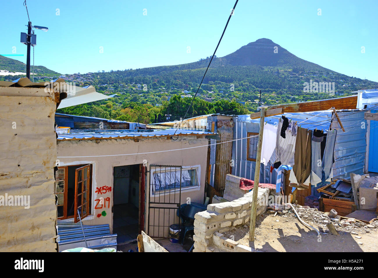 Typical of the 'shack settlements' town ship housing in Imizamo Yethu,commonly known as Mandela Park, Cape Town Stock Photo