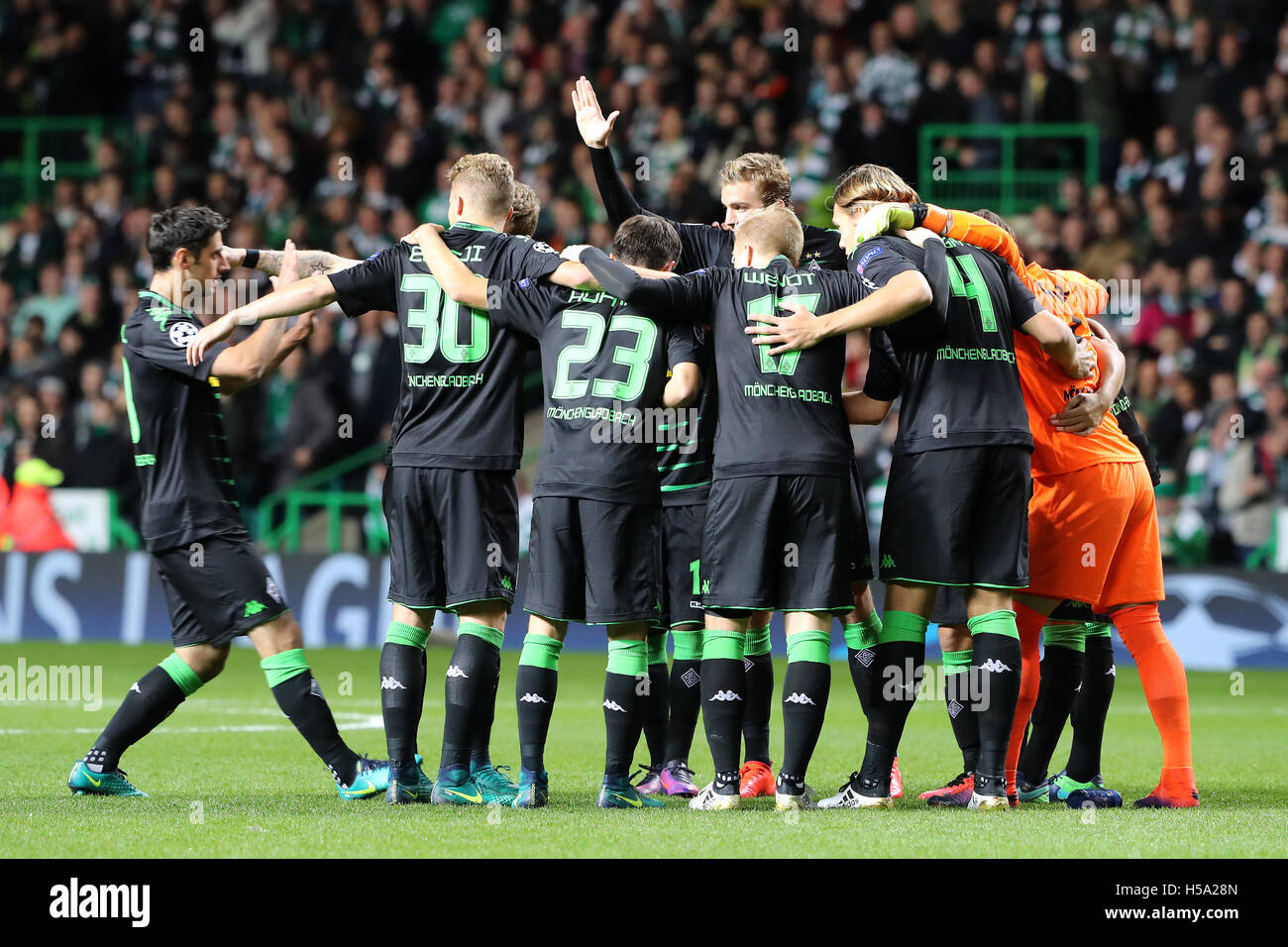 Borussia Monchengladbach s form a group huddle before the UEFA Champions  League match at Celtic Park 78df36d2e