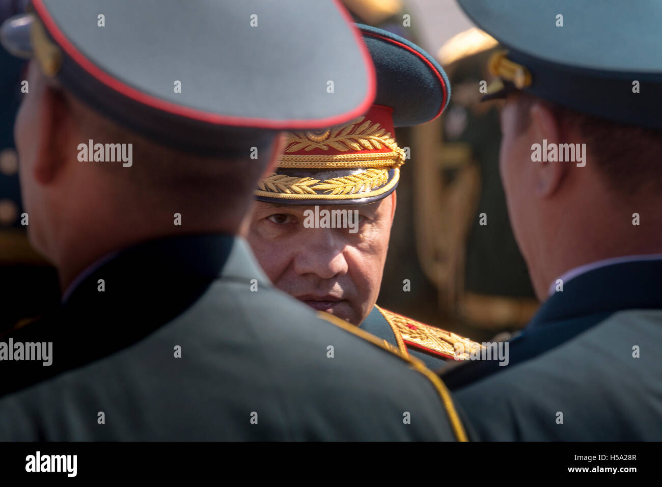 Portrait of Russian Defense Minister, Army General Sergei Shoigu at the military parade on the Red square in Moscow, - Stock Image