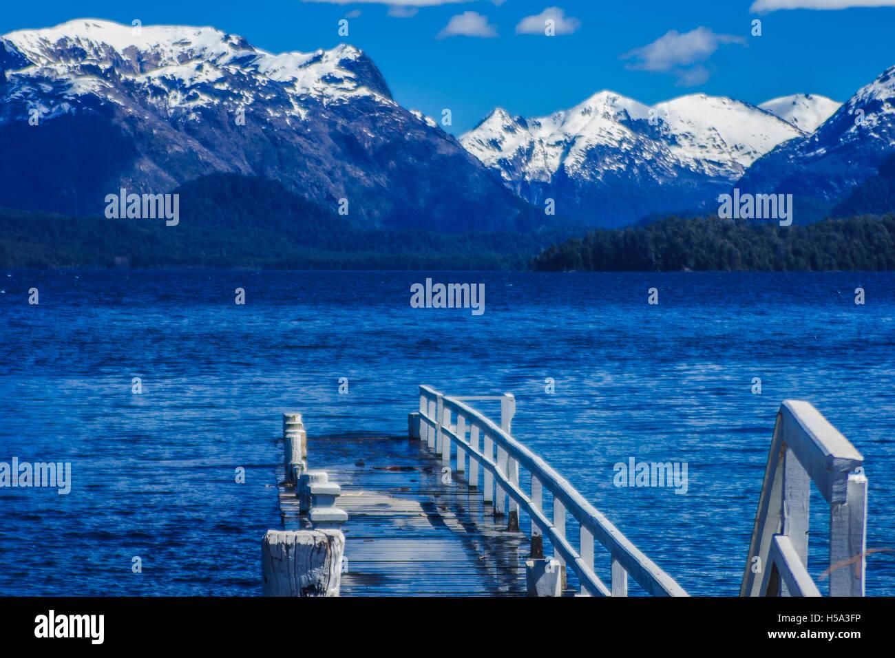 Pier at Nahuel Huapi national park, Patagonia, Argentina - Stock Image