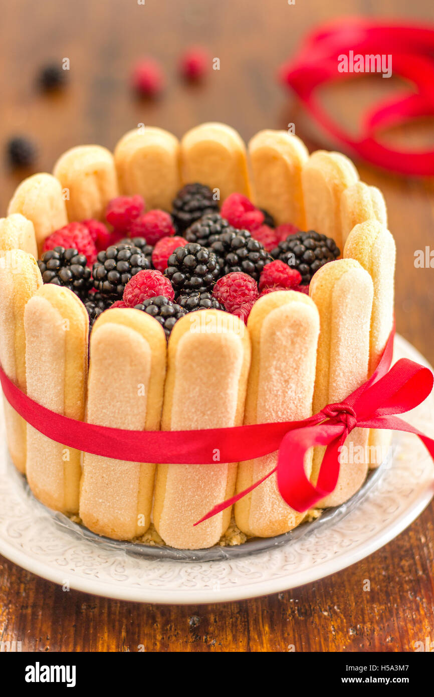 Charlotte Cake with Mixed Berries - Stock Image