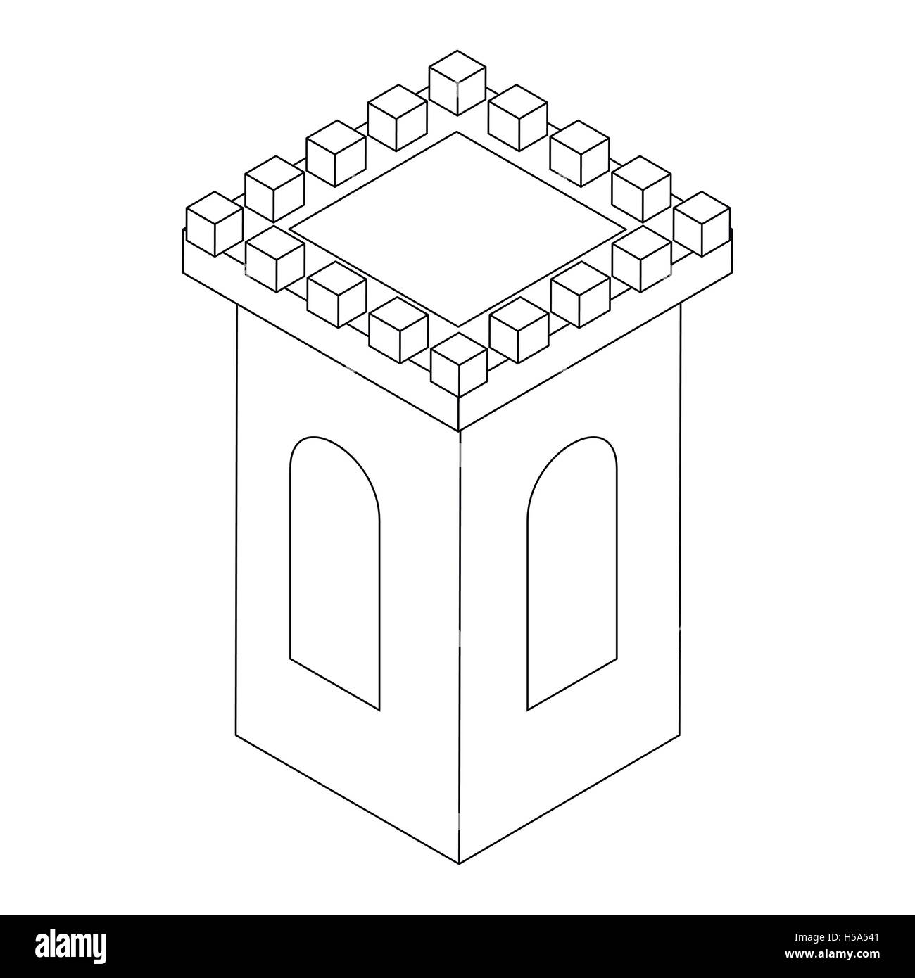 Castle tower icon, isometric 3d - Stock Image