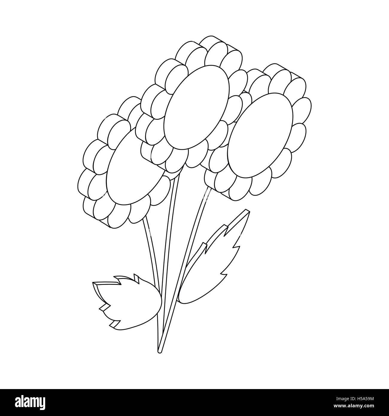 Flowers icon, isometric 3d style Stock Vector