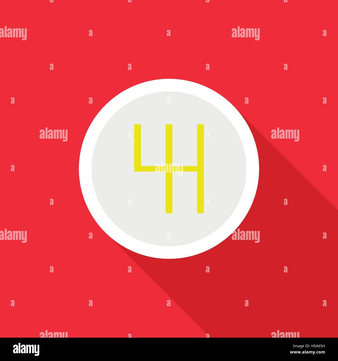 Gearbox schematics icon, flat style - Stock Image