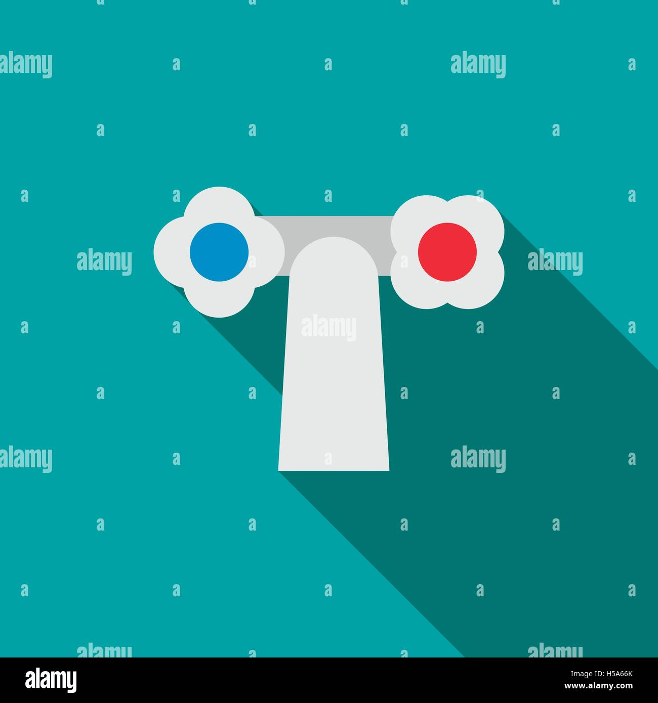 Water tap with knobs icon, flat style Stock Vector Art ...