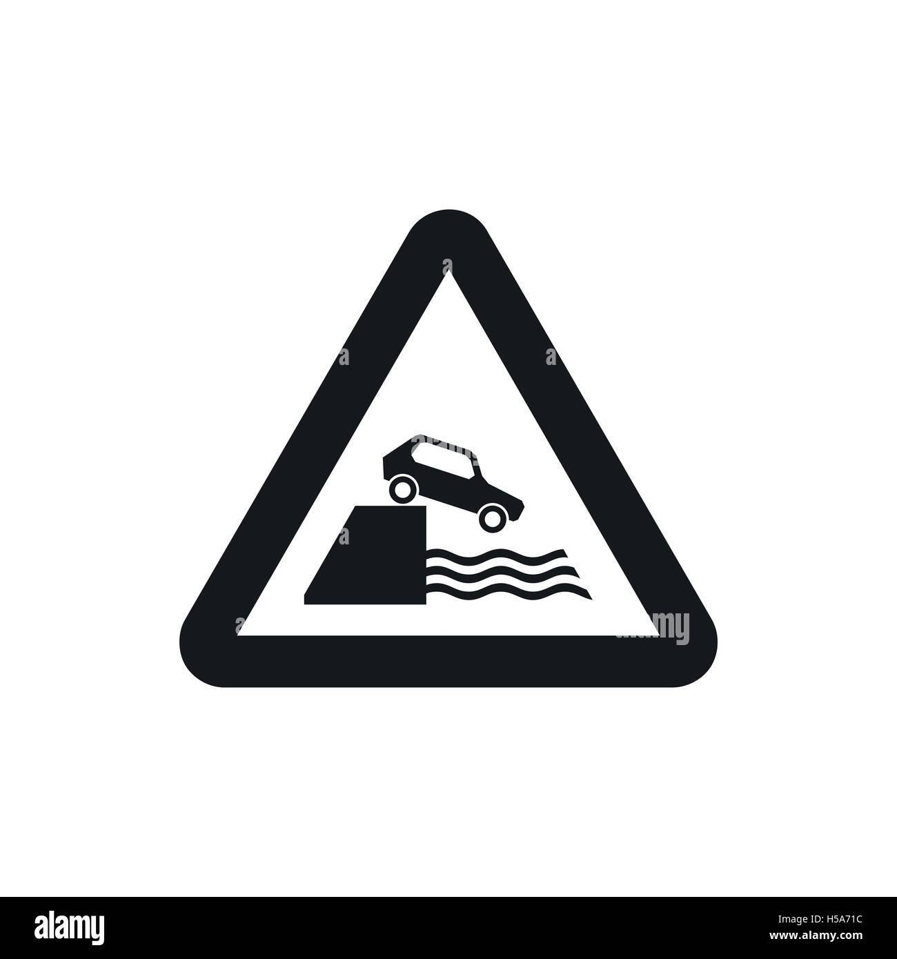 Riverbank traffic sign icon, simple style - Stock Image