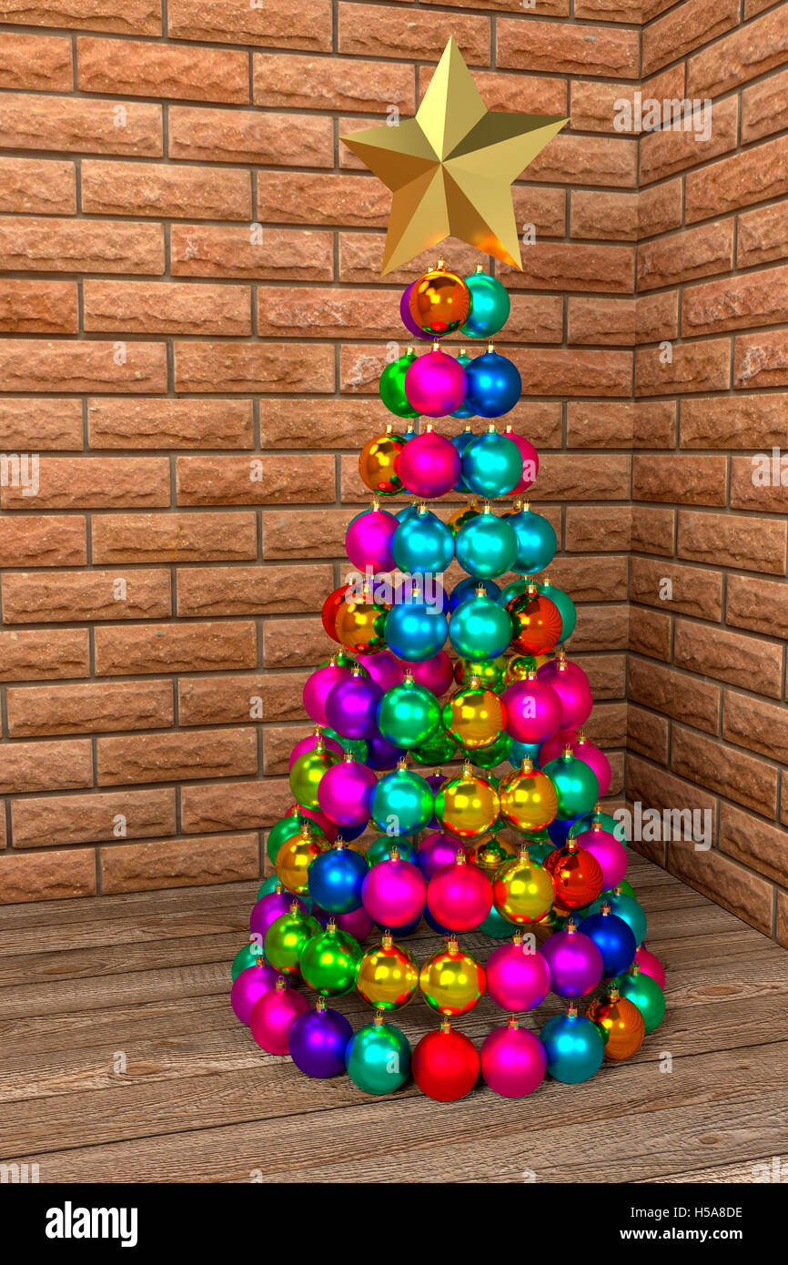 christmas tree made of colorful baubles 3d rendering
