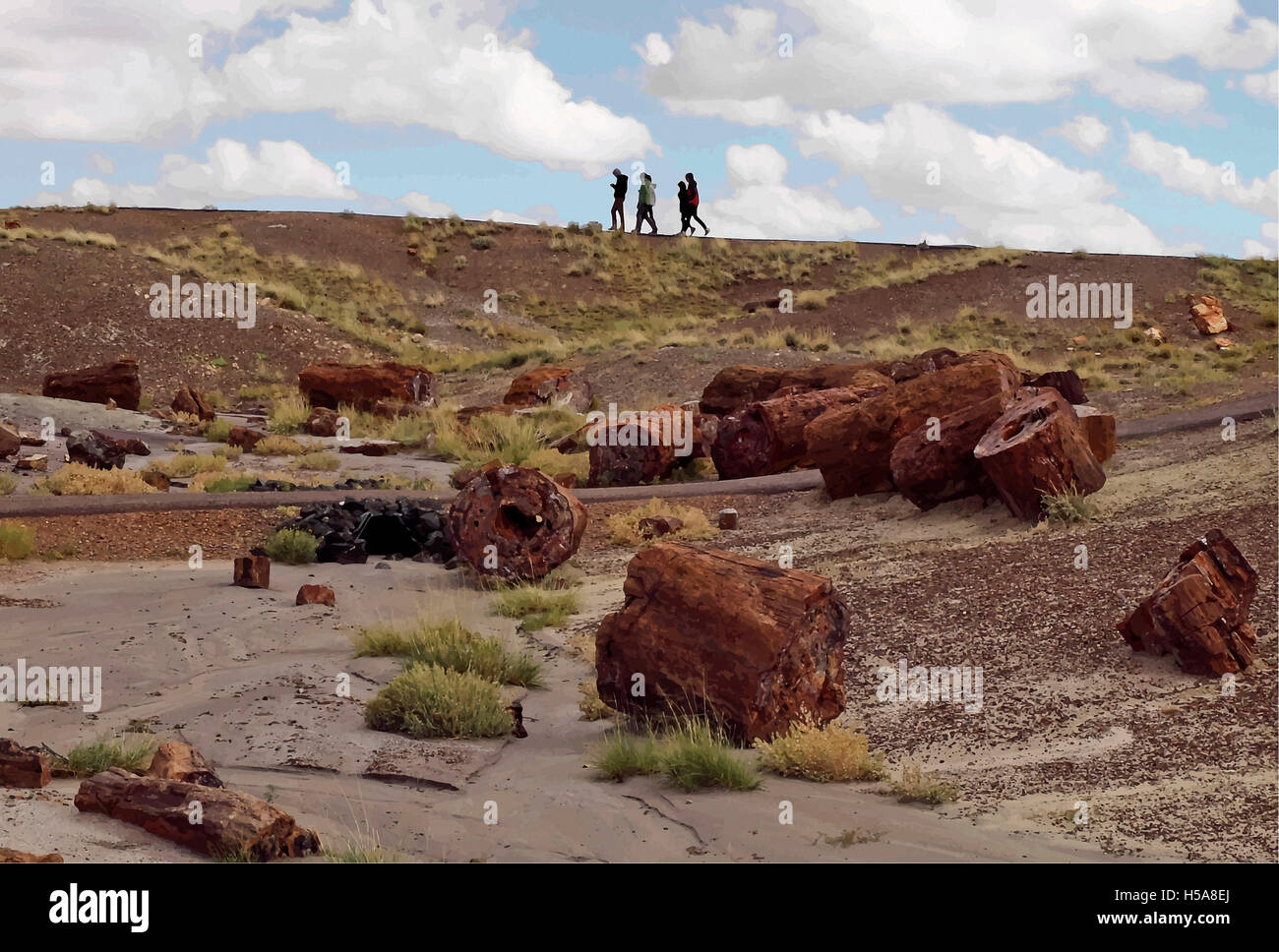 People walking  in Petrified Forest National Park in Arizona. Digitally adjusted. - Stock Image