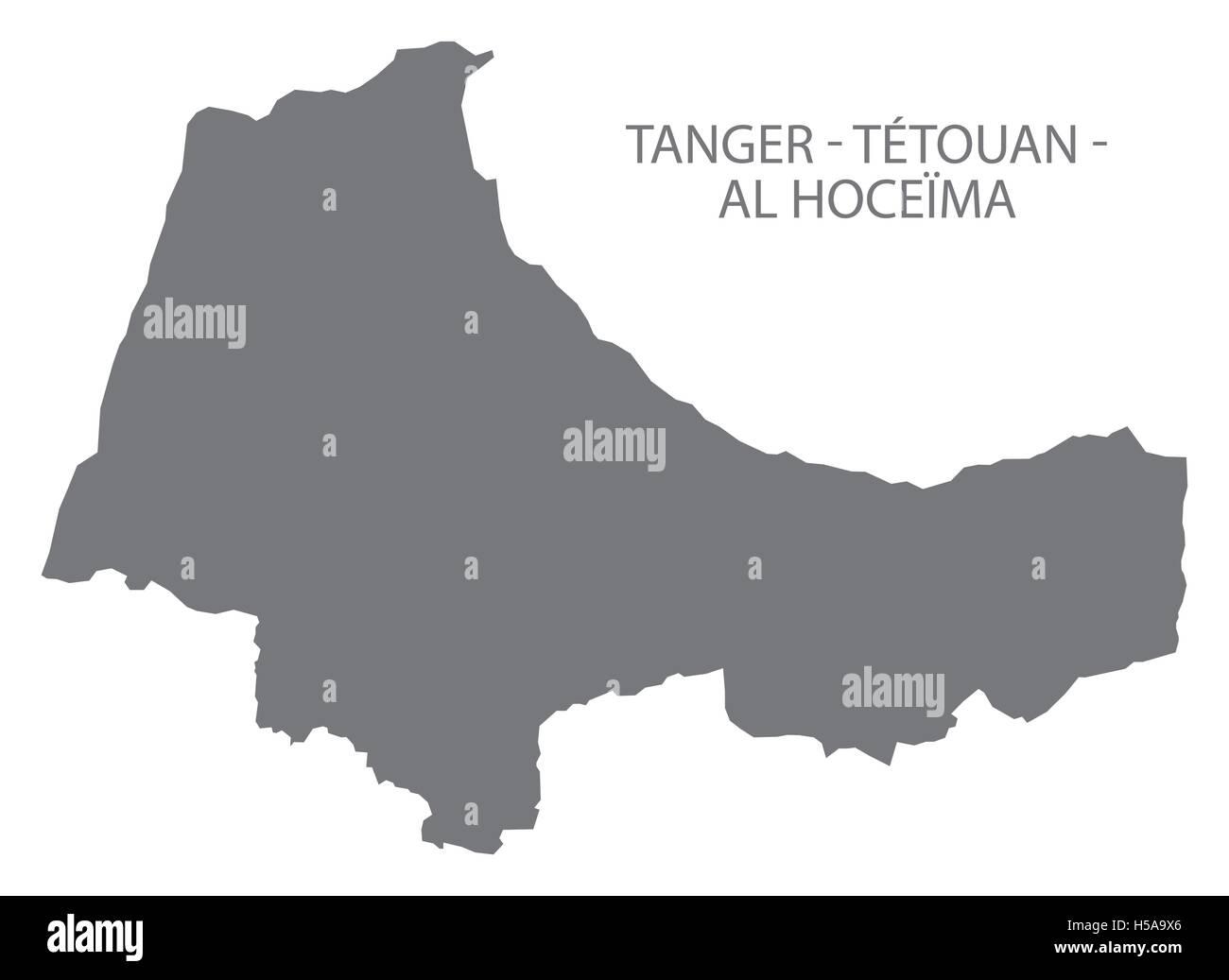 Tanger Tetouan Al Hoceima Morocco Map grey Stock Vector Art