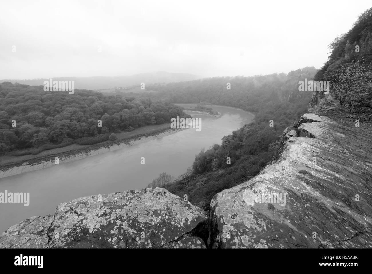 River Wye from Woodcroft Quarry, Woodcroft, Gloucestershire, England, UK - Stock Image