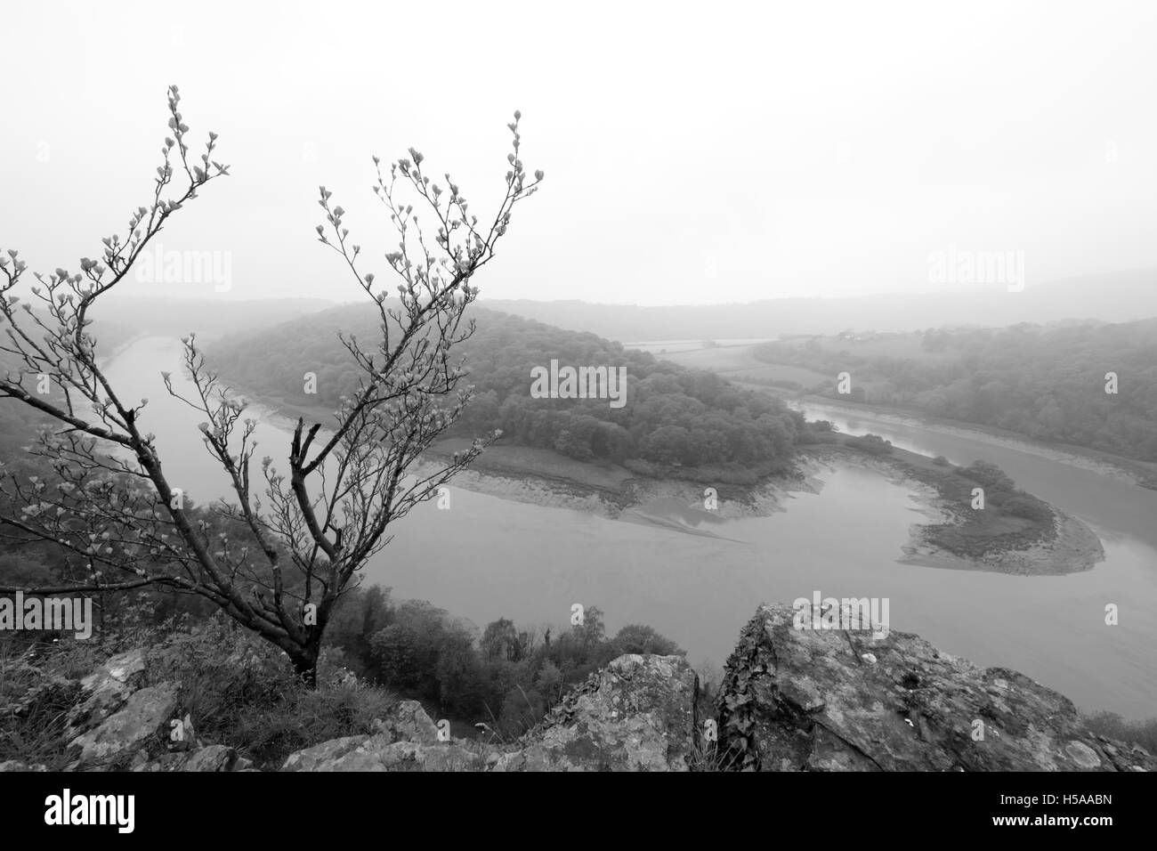 River Wye from Wintour's Leap, Broadrock, Gloucestershire, England, UK - Stock Image
