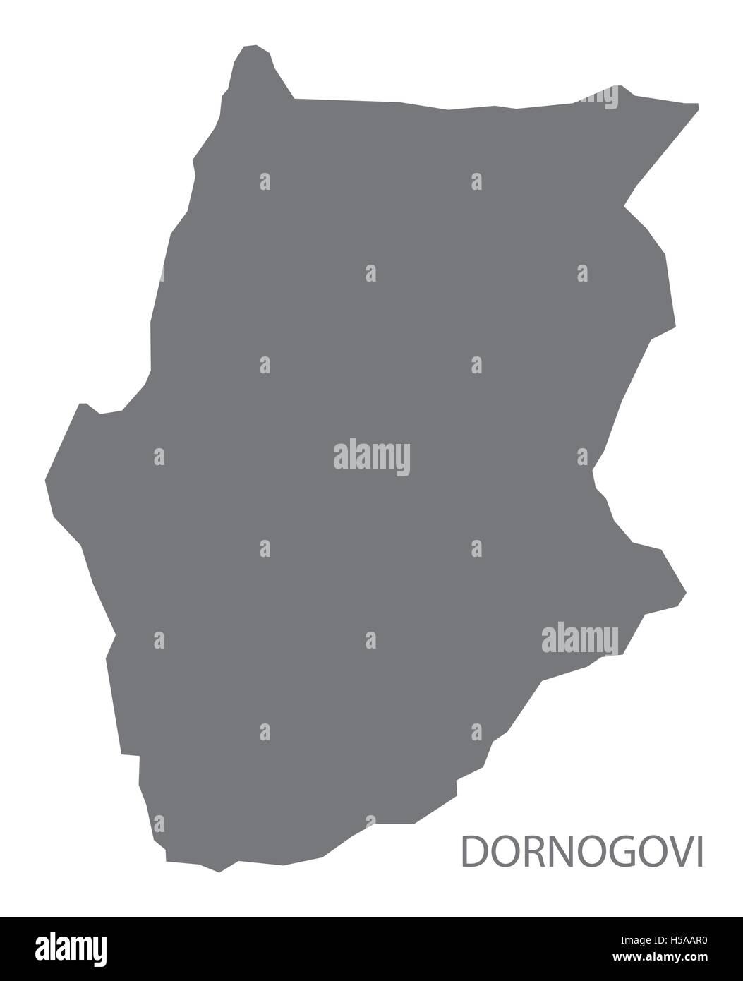 Dornogovi Mongolia Map grey - Stock Vector