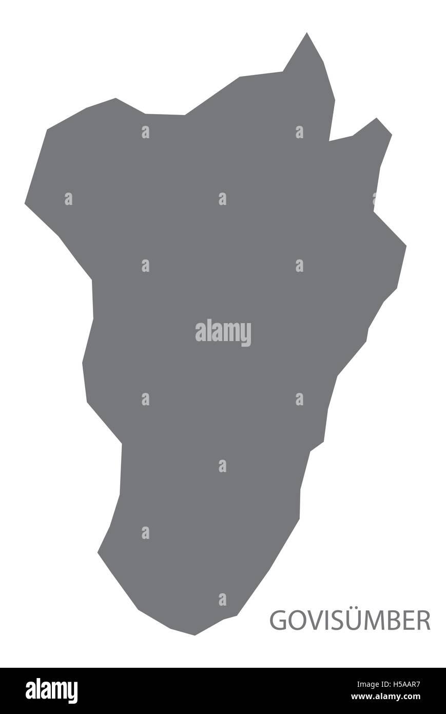 Govisumber Mongolia Map grey - Stock Vector