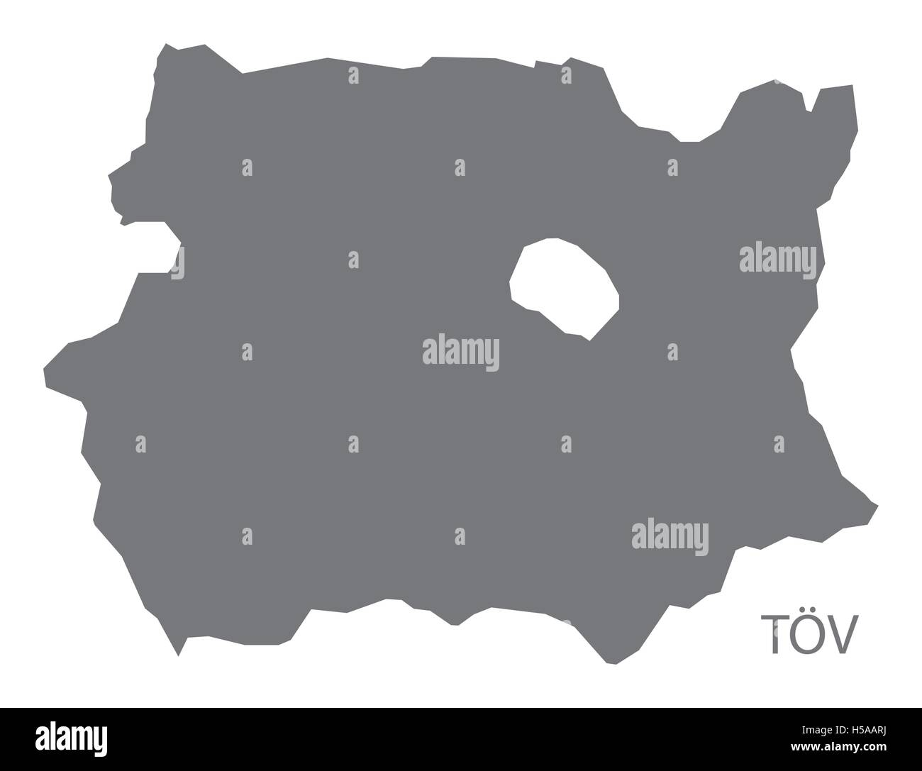 Tov Mongolia Map grey - Stock Vector