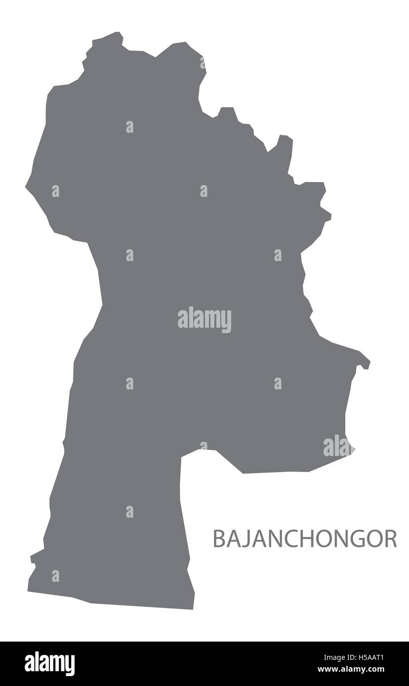 Bajanchongor Mongolia Map grey - Stock Vector