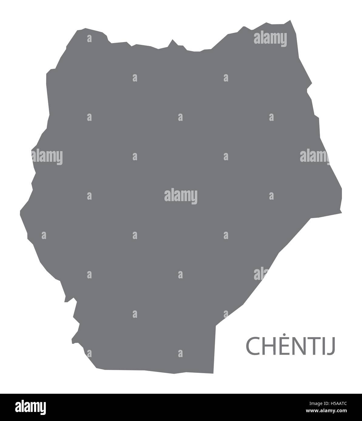 Chentij Mongolia Map grey - Stock Vector