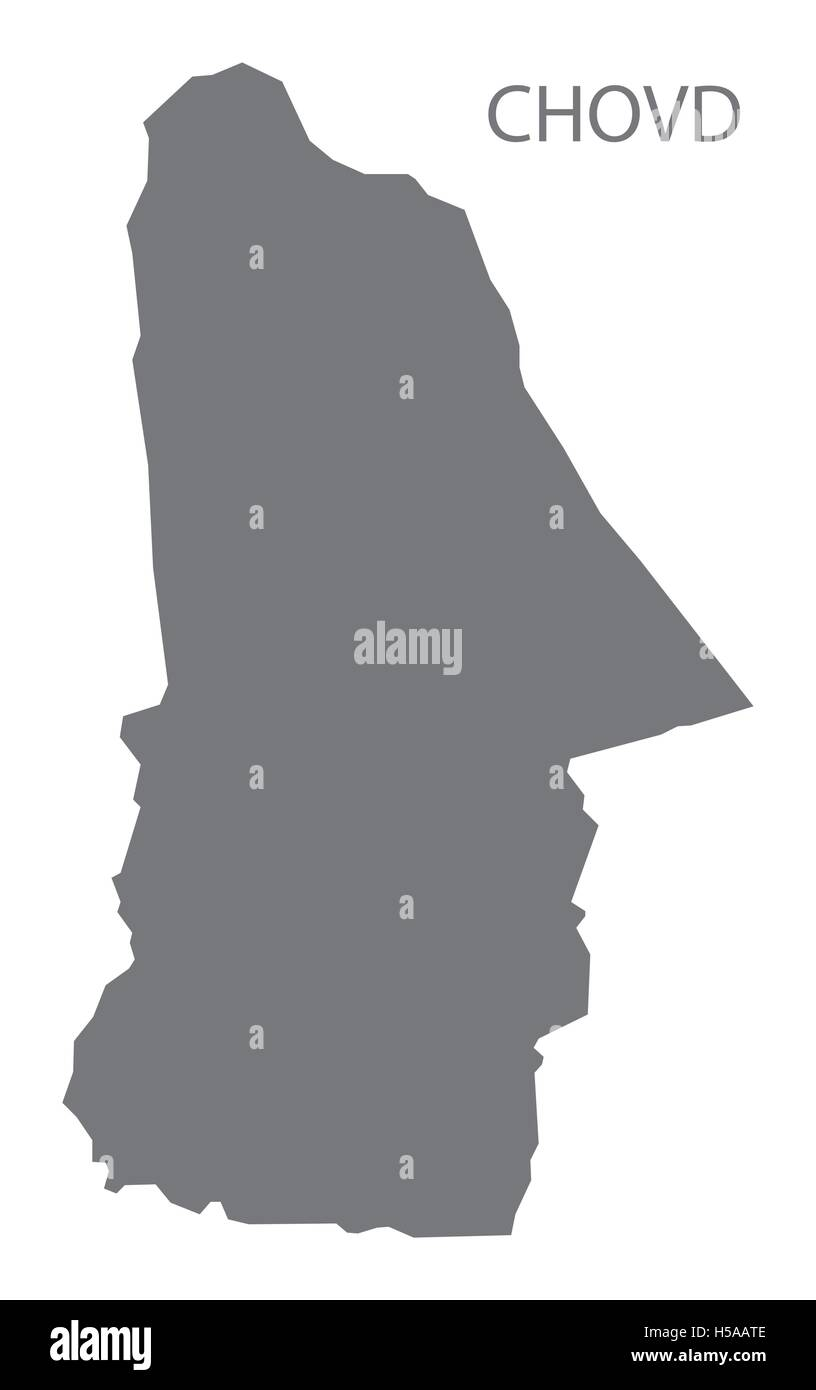 Chovd Mongolia Map grey - Stock Vector