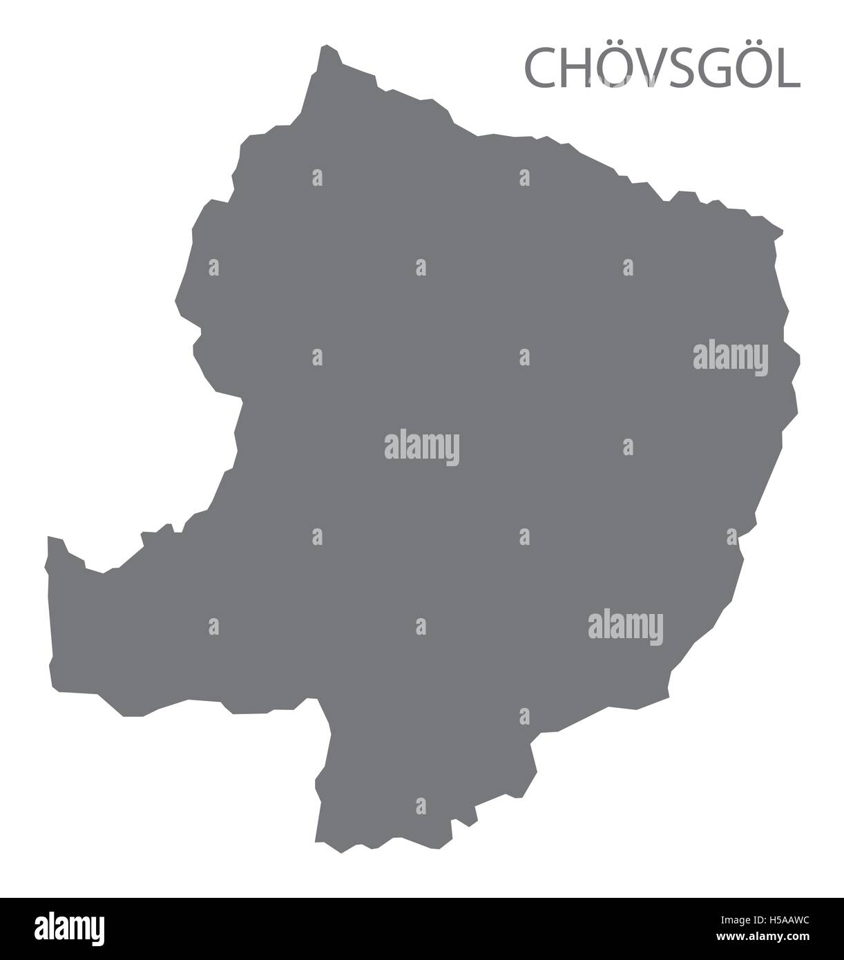 Chovsgol Mongolia Map grey - Stock Vector