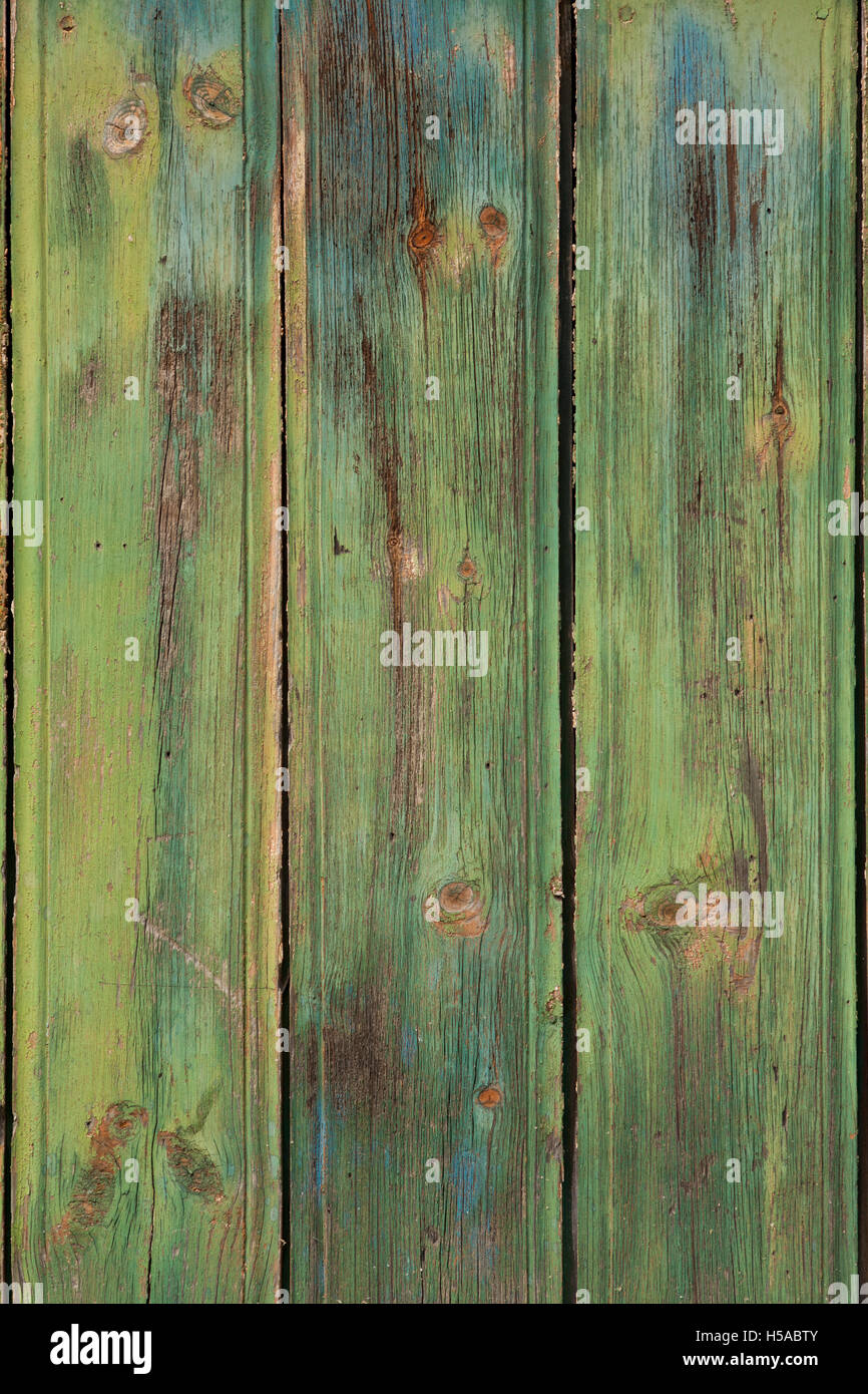 old green planks background or vintage wooden texture - Stock Image