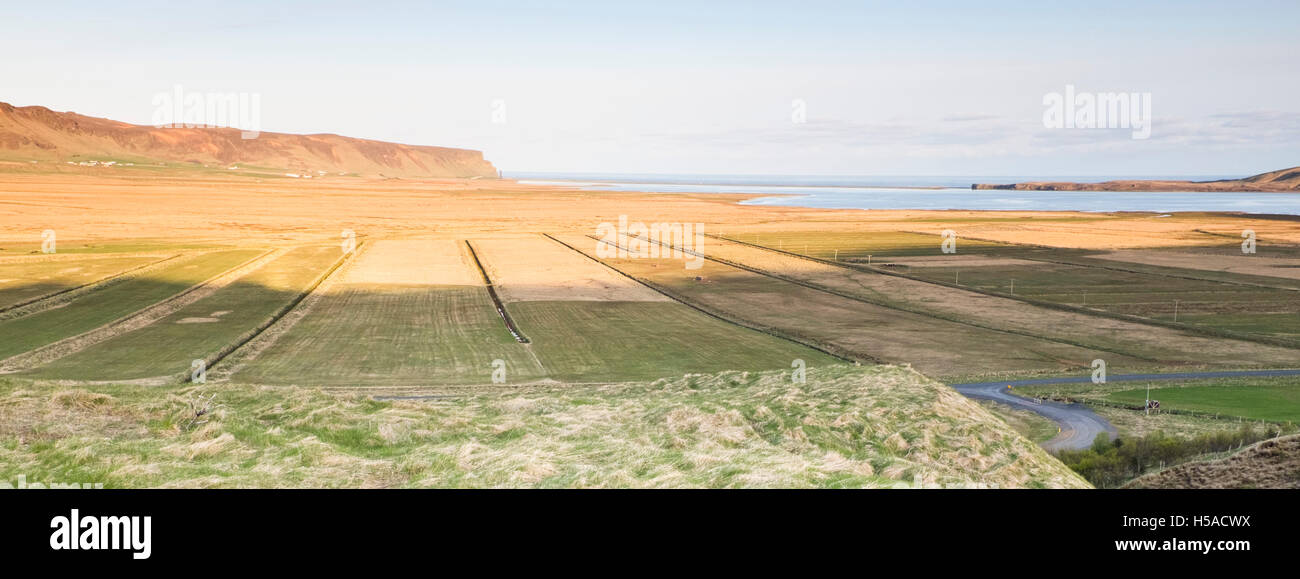 Clear sky over field with sea in background - Stock Image