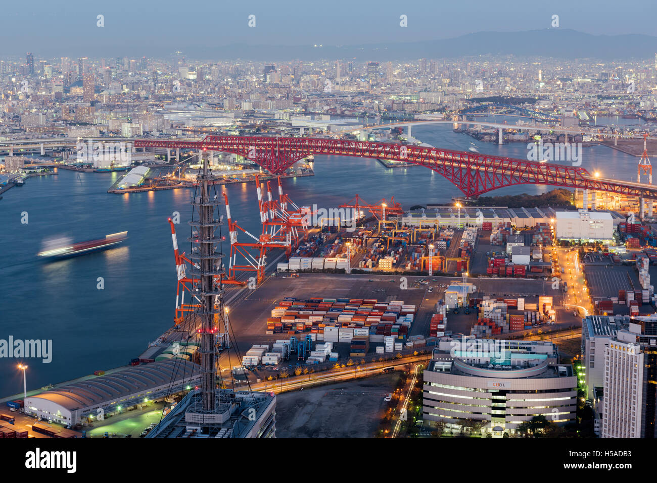 Osaka, Japan – November 30 2015: View from atop the World Trade Center of Osaka Sea Port built on reclaimed land Stock Photo