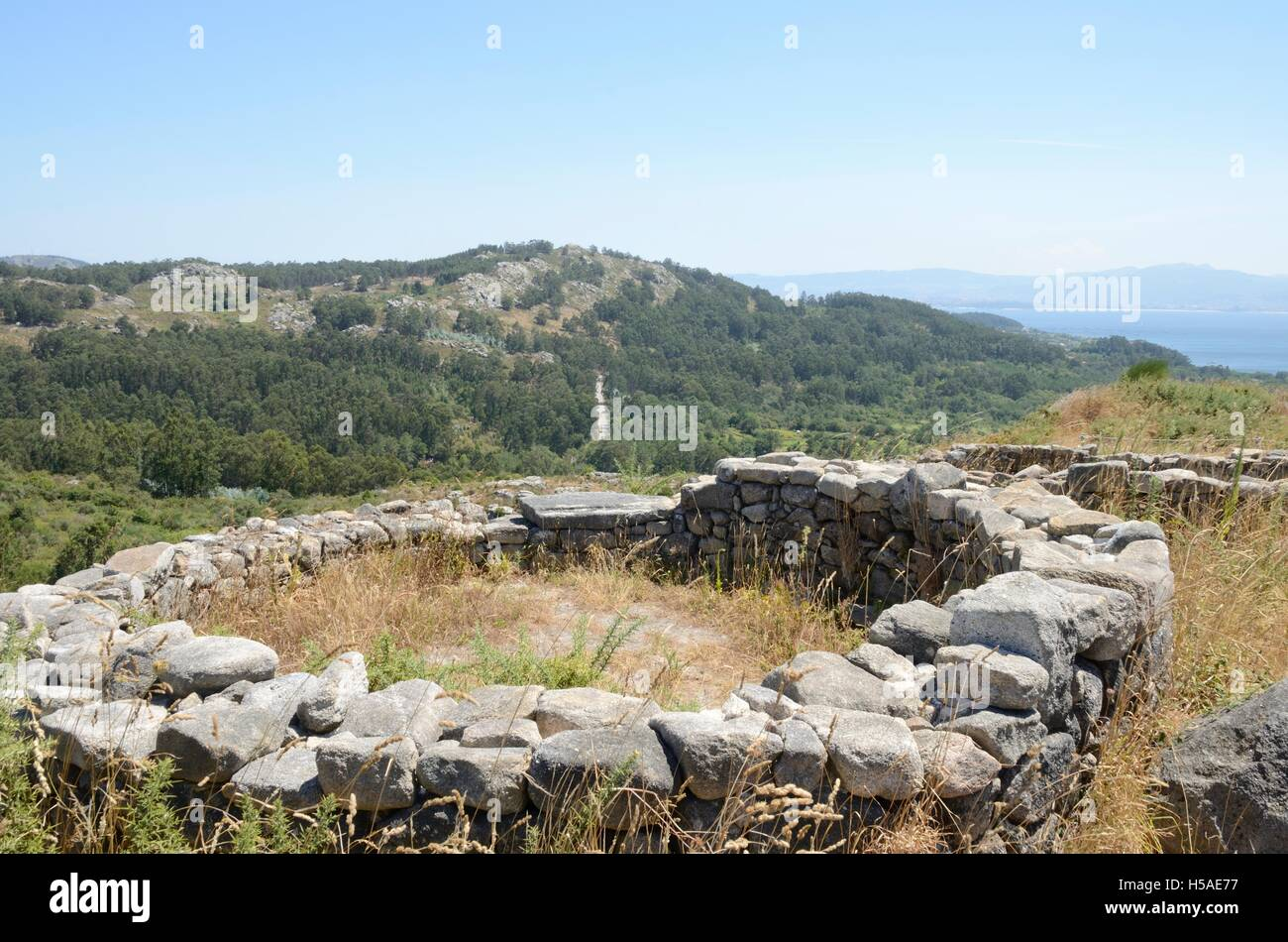Prehistorical  Ruins of a hillfort the Mountain of Facho   in Cangas, in the province of Pontevedra, Galicia, Spain. - Stock Image